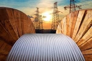 Electrical transmission line. High voltage line.