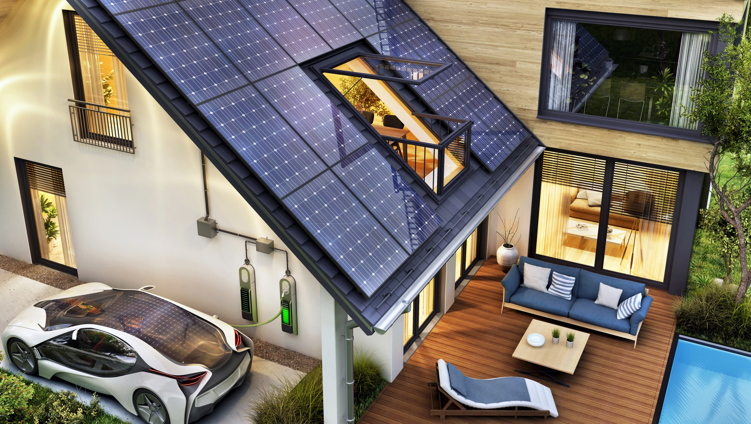 Image shows a modern home with solar panels on roof and electric car charging. Imperia Engineering Partners & ReWire Energy can help improve energy efficiency by reducing energy waste and maximizing energy value.